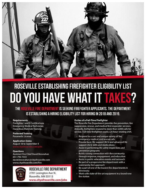 Roseville Fire- Hiring-Eligibility List Flyer 2017