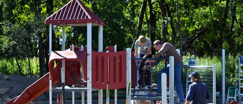 Langton ball field playground structure